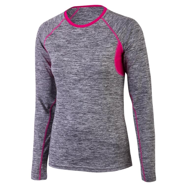 Běžecké triko CHANTAL L šedá s fuchsiovou