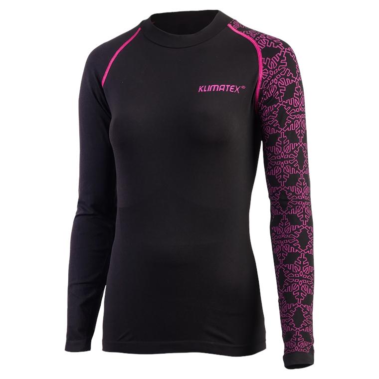 Dámské seamless triko HAJNA XL černá s růžovou
